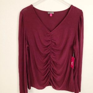 NWT Vince Camuto Burgundy Gathered Top Sz XL